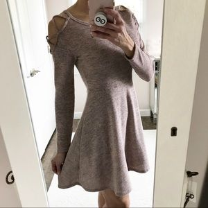 Alya Pink Grey Cut Out Cold Shoulder Skater Dress